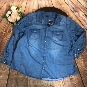 Torrid 4 4X Jean Denim Shirt Blouse Long Sleeve